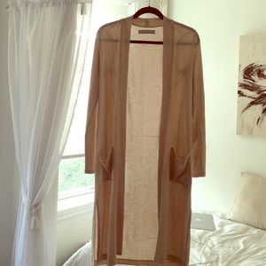 Cream long sleeved open cardigan